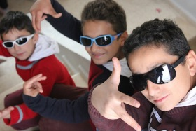 Syrian rapping brothers Mohammed Abdulrahman and Samir at Jarraheih Public School in Lebanon