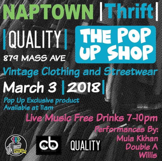 flyer for the naptown thrift and quality indy pop up shop