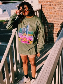 Midwest in Bloom - Olive Long Sleeve