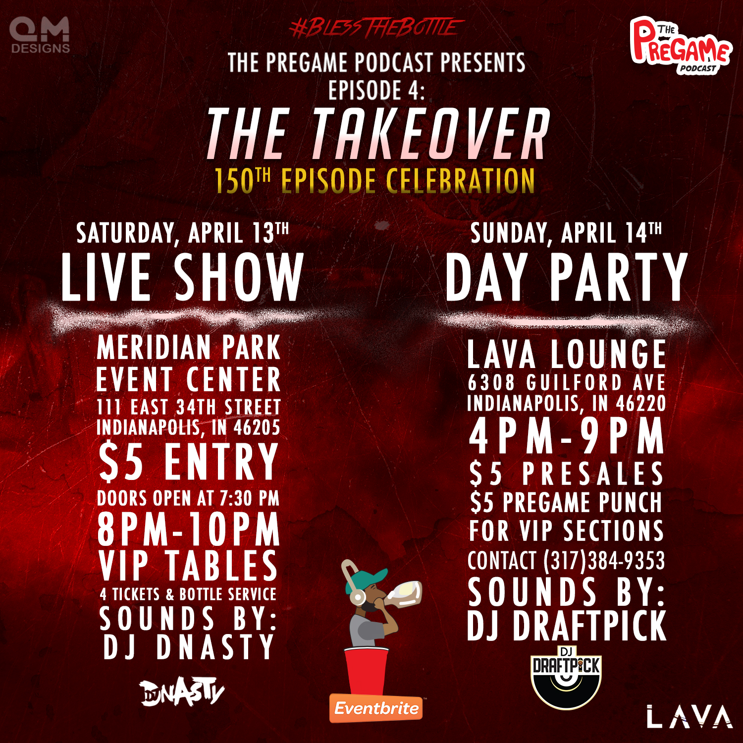 event flyer for the Pregame's Indy Takeover