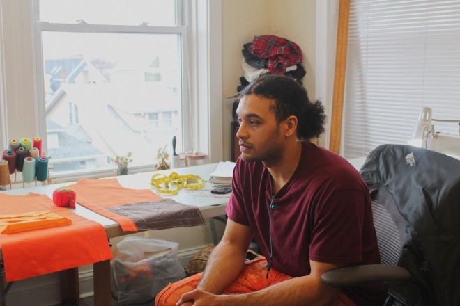 chatting with Chicago fashion designer Swaintheory in his sewing room