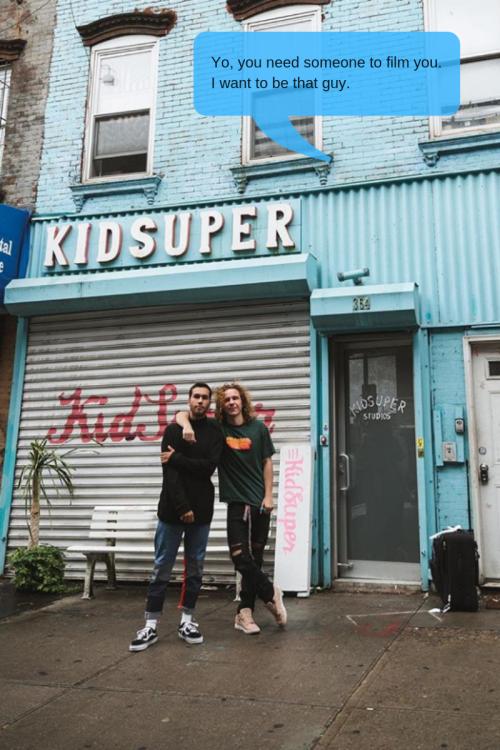 levi turner and kid super pose in front of kid super studios